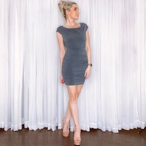 I.N. San Francisco Dresses - Grey Silver Fitted Sequin Date Night Mini Dress